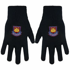 West Ham United FC Official Football Gift Adults Knitted Gloves Black