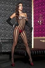 Black Opaque + Sheer Stripes Bodystocking Sexy Designer Lingerie Underwear P1567