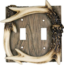 River's Edge Deer Antler Double Switch Plate Cover 552