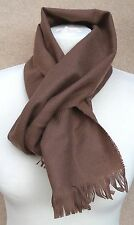 "MENS LADIES Lambswool Herringbone Weave Scarf UK Made Mid Brown 60"" x 10"" 2"