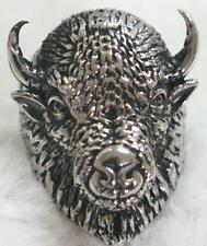 BUFFALO HEAD W HORNS STAINLESS BIKER RING #509-S Fashion mens womens animal NEW