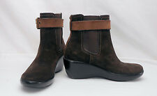 Sperry Top-Sider Brown Suede Platform Wedge Heel Waterproof Ankle Boots 6 M
