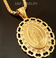 """Stainless Steel Virgen de Guadalupe Pendant & 24"""" Round Box Chain Necklace 180G"""