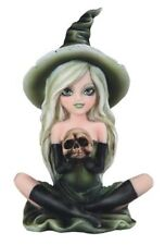"6.5"" Green Witch Girl With Skull Statue Halloween Decor Figure Gothic Figurine"