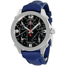 Jacob and Co. Five Time Zone Black Dial Blue Strap Mens Watch JCM-2