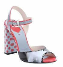 FENDI Shoes Size 7.5 Sandal Heels F0W7F Grey w Red Dots & Flower Made In Italy
