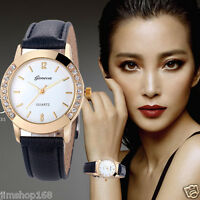 Geneva Fashion Women Diamond Leather Stainless Steel Analog Quartz Wrist Watch