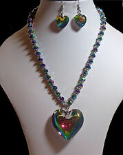 Stunning, Aurora Borealis Heart Necklace & Earrings  (2077)
