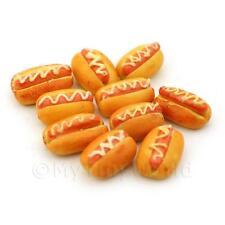 8 Dolls House Miniature Hot Dog In A Bun With Mustard Swirls