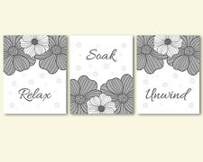 3 prints, art for bathroom - Relax Soak Unwind quote, grey and white, black