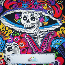 Alexander Henry Dia De La CATRINA Black Day of the Dead Quilt Fabric by the Yard