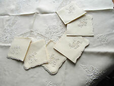 Vintage Pale Yellow Linen Floral Embroidered Tablecloth & 6 Napkins Fine Work