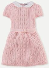 Nwt $95 Ralph Lauren Soft Cotton Cable Knit Sweater Dress Top Pretty Pink 6