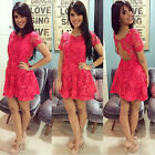 Sexy Women Short Mini Lace Dress Casual Sleeveless Party Evening Cocktail Size S