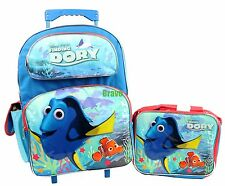 "Disney Pixar Finding Dory 16"" Large Rolling Backpack With Lunch Bag 2PC Sets NEW"