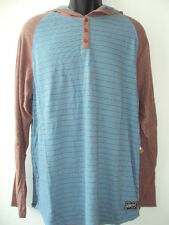 NEW RIP CURL MEN SURF RIVER JETTIES HOOD HENLEY HOODIES NIAGARA BLUE SIZE LARGE