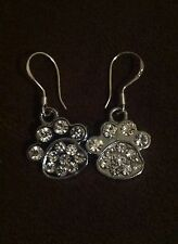 New Sllver Rhinestone Paw Earrings Fishhooks Auburn Clemson LSU