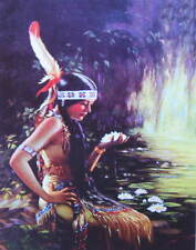 Indian Maiden Water Lilies Moon Light by ADELAIDE HIEBEL vintage art