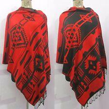 Reversible Indian 100% Wool Winter Woolen Wrap Shawl Scarf Poncho Pashmina