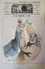 M. DE REMUSAT CARICATURE de GILL JOURNAL SATIRIQUE L'ECLIPSE N° 235 de 1873