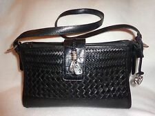BRIGHTON C453395 BLACK PEBBLED SMOOTH & WOVEN LEATHER SLING SHOULDER BAG PURSE