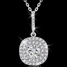 Round Brilliant Cut Micro Pave Set Signity Cz Halo Pendant Necklace Chain Ladies