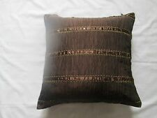 NEW Faux Silk Rippled Crinkle Ribbon Embroidered Sequin Cushion Cover Brown Gold