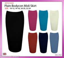 New Ladies Women Office Stretch Pencil Tube Bodycon Midi Skirt Plus Sizes 10-24