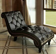 Modern Chaise Lounge Bedroom Indoor Chair Living Room Tufted Leather Sofa Brown