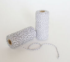 100M Striped Bakers Twine Grey And White Divine Wedding String Cotton