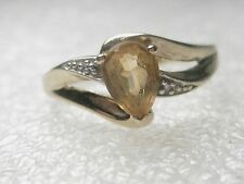 Vintage 10kt  yellow gold and yellow topaz/citrine pear shaped ring, sz. 7.5