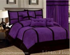 15 Piece Purple Black Micro Suede Comforter + Sheet  Set Queen Size New