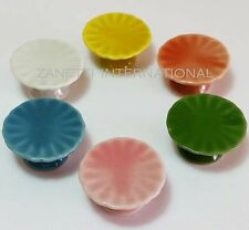 Set of 6 Dollhouse Miniature Mixed Ceramic Cake Stands*Doll Mini Food Dish Plate