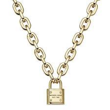 NWT MICHAEL KORS Gold-Tone Logo Padlock Pendant Necklace MKJ3325710