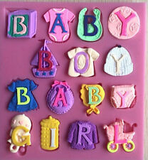 New Hot Baby Clothes Socks shoes Mould sugarpaste Shower Cake Cupcake Bakeware