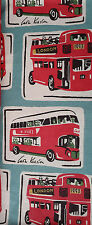 Cath Kidston London red Buses FQ 50cm square lightweight fabric 100% cotton new