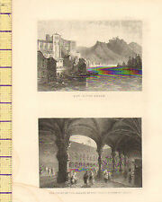 c1830 ANTIQUE PRINT ~ HUY-RIVER MEUSE ~ COURT OF THE PALACE OF PRINCE LIEGE