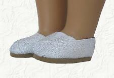 Doll Clothes Shoes Espadrille Glitter Silver fit 18 inch  American Girl
