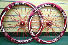 Fixed Gear 700c 50mm Wheels Sealed Bearing red Rim Red Flat Bladed Spokes