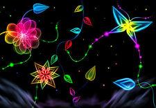 Enmarcado impresión Neón Mariposas y Flores (Imagen Cartel Animal Arte Floral)