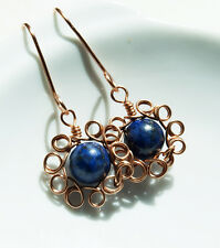 copper blue lapis lazuli handmade wire wrapped earrings jewellery