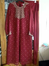 BURGUNDY CREPE INDIAN PAJAMI GOLD EMBROIDERY UK14 **BNWT**