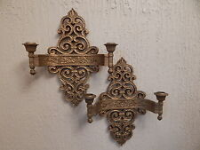 Vintage Pair Of Syroco Faux Wood Wall Sconce Candle Holders