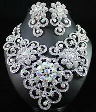 QUEEN CLEAR AUSTRIAN RHINESTONE CRYSTAL BIB NECKLACE EARRINGS SET BRIDAL N1426