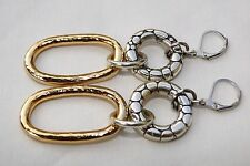 New Brighton Two Tone Silver Pebble Rings Dangle On Custom Lever Back Earring
