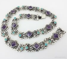 TAXCO VINTAGE DESIGN 925 AMETHYST TURQUOISE NECKLACE    Mexican Sterling Silver