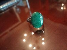 MH STERLING SILVER RING WITH STONE--(SIZE-8)