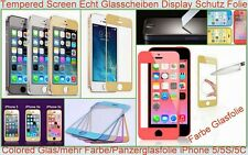 Farbe Tempered Panzer  Glas Screen Display Schutz Folie f. Apple iPhone 5 5 S 5C