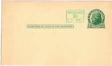 One Cent Jefferson Post Card Revalued to 2 Cents Postal Card