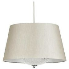 Wolseley Pendant Light Fitting Champagne Cream Silk Shade With Glass Diffuser
